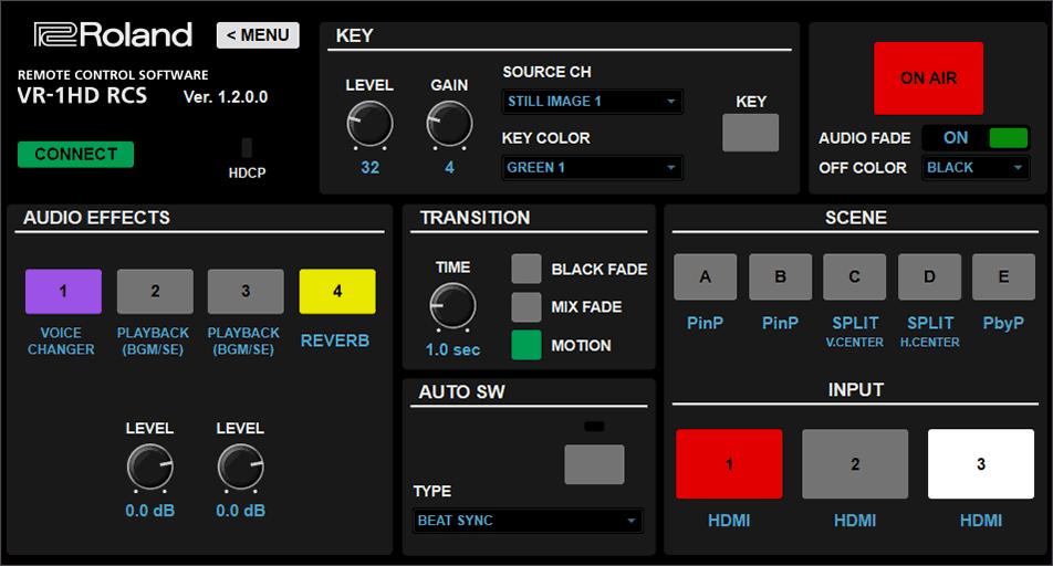 V-1HD RCS Main Screen
