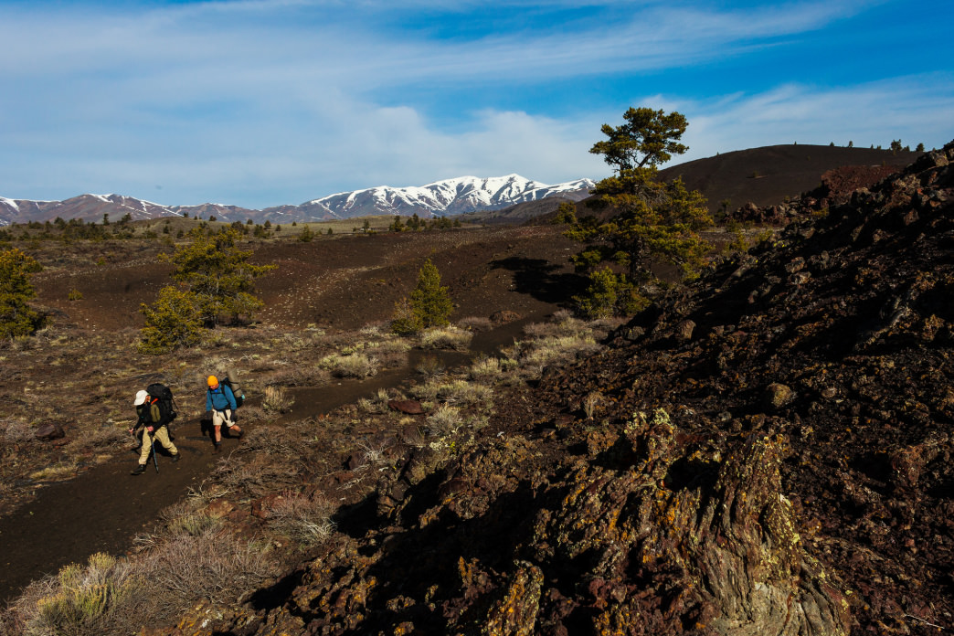Ambling over the cinders in Craters of the Moon National Monument.