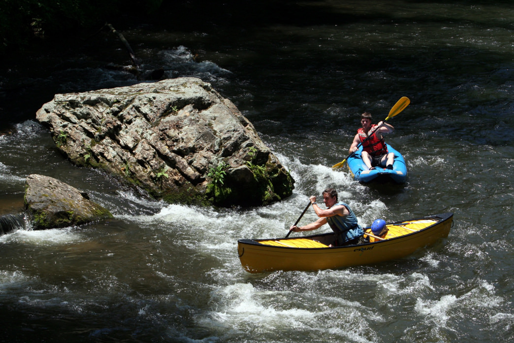 Paddling in the Nantahala River Gorge.
