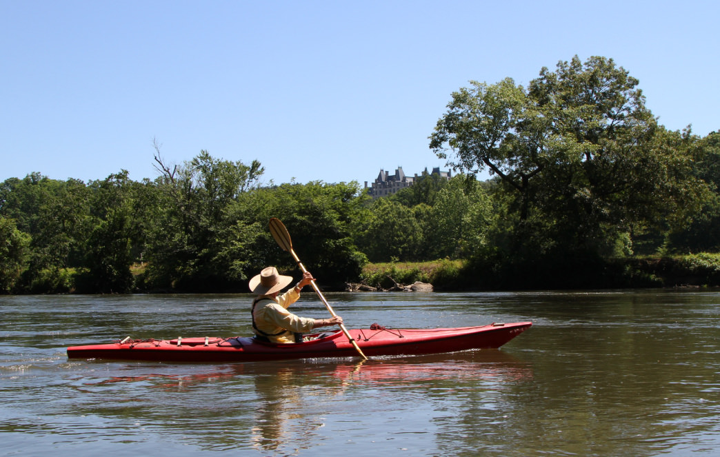 Paddling on the French Broad River near the Biltmore Estate.