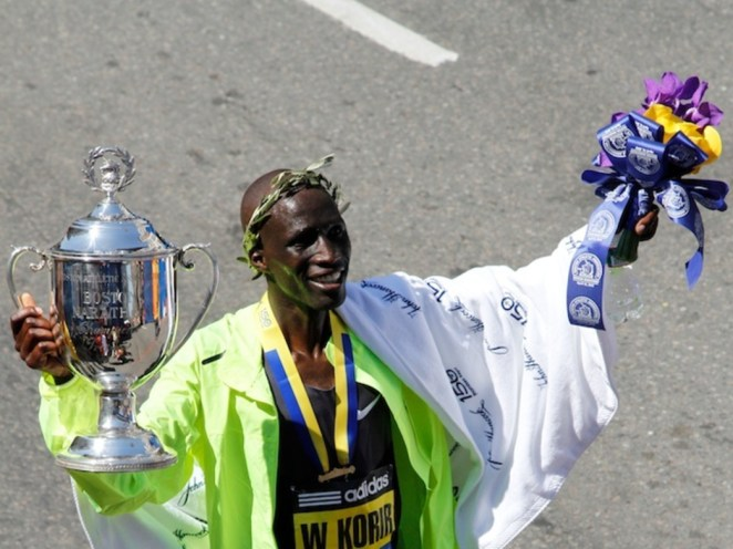 Apr.16, 2012 - Wesley Korir of Kenya wins the men's division of the 2012 Boston Marathon in a time of 2:12:40.