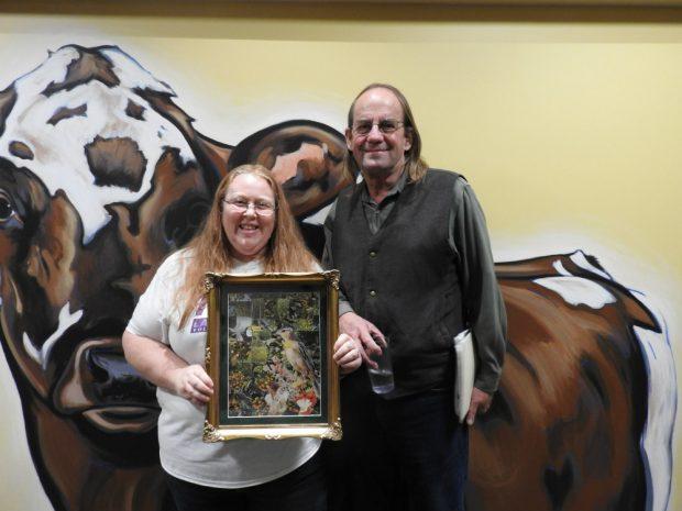Green Spirit Award winner Noelle Kehoe with Organic Valley CEO George Siemon.