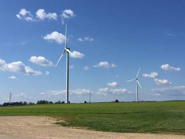 Wind turbines at Organic Valley's Cashton, Wisconsin, campus.