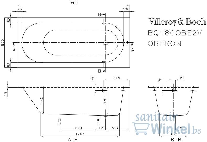 Villeroy Et Boch Oberon Baignoire 180x80cm Quaryl Avec