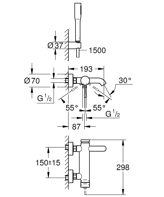 grohe essence new robinet de bain avec inverseur et connexions avec garniture de douche chrome