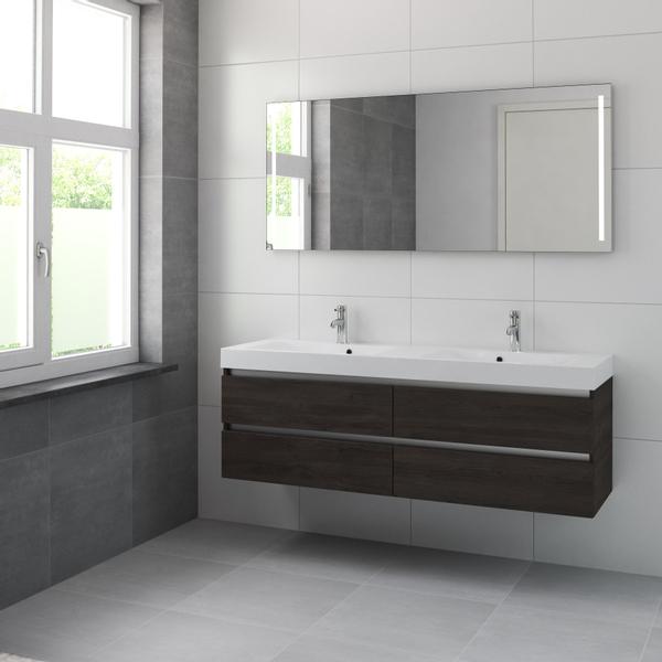 bruynzeel palitano meuble avec miroir et double lavabo 160cm 2 trous pour robinet gladstone oak