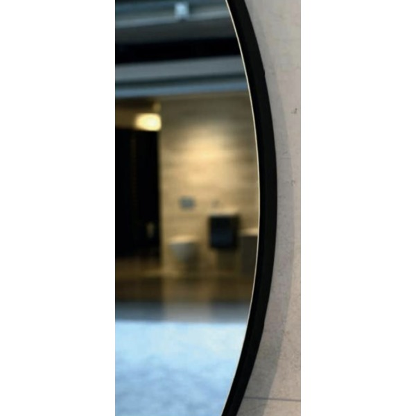 plieger nero round miroir rond 120cm avec cadre noir