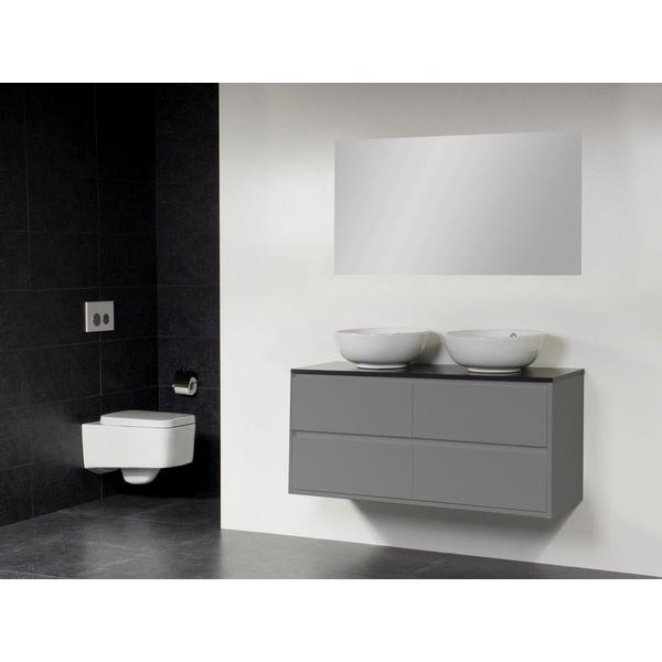 saniclass new future kos meuble salle de bain avec vasque a poser blanc 120cm brillant avec miroir gris
