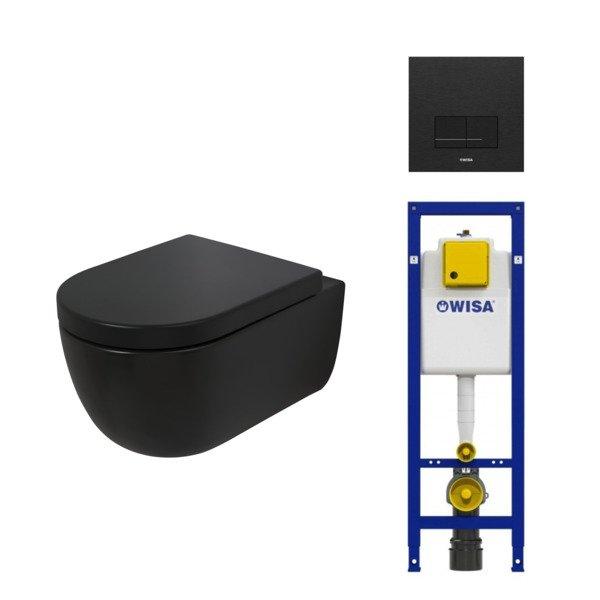 plieger nola pack wc suspendu sans bride noir mat avec reservoir encastrable wisa et abattant frein de chute et declipsable avec plaque de commande