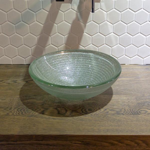 saniclass mela vasque a poser 30x10 5cm rond verre durci gris blanc