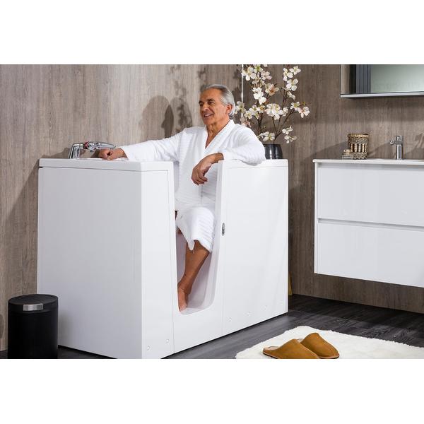 saniclass aruba xl baignoire sabot a porte 68x98x140cm porte droite polyester blanc