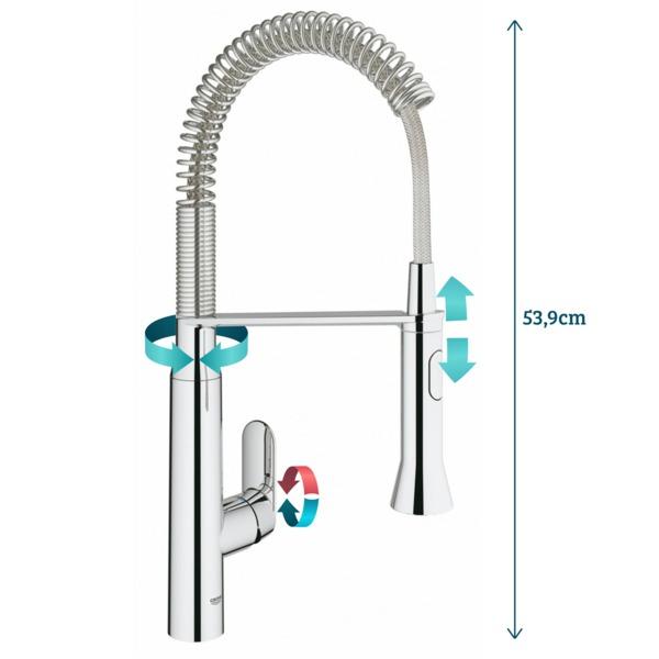 grohe k7 robinet de cuisine medium avec douchette professionnelle automatique avec inverseur entre jet douche et mousseur chrome