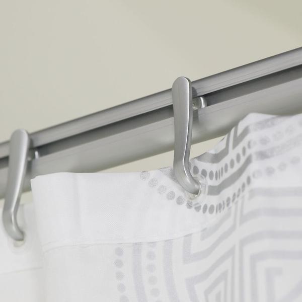 sealskin easy roll rail rideau de douche avec support plafond 170x80cm avec anneaux aluminium