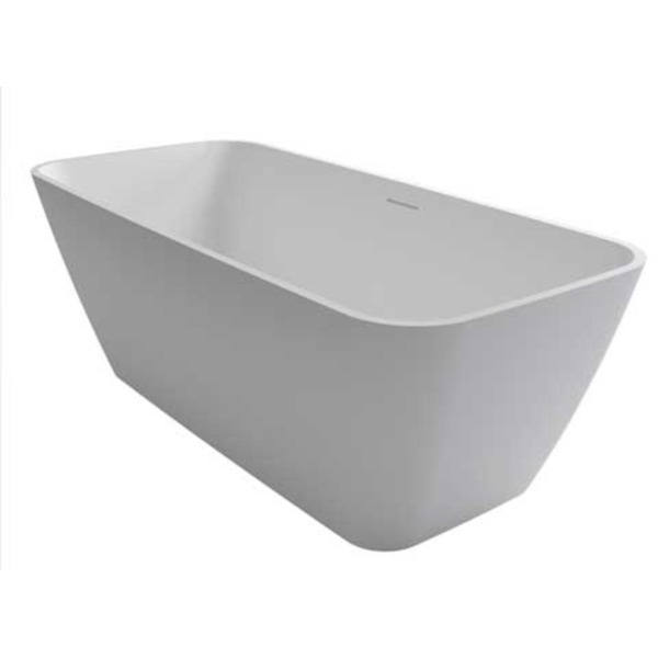 riho malaga baignoire ilot rectangulaire 160x75x56 5cm solid surface blanc mat