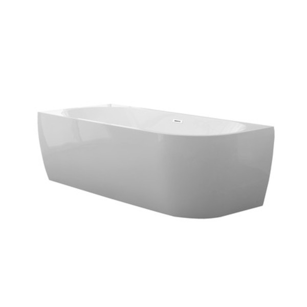 saniclass d shape baignoire semi ilot 180x80x60cm gauche blanc