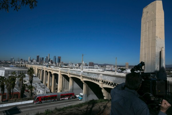 Drivers beware: Famous LA bridge has begun coming down ...