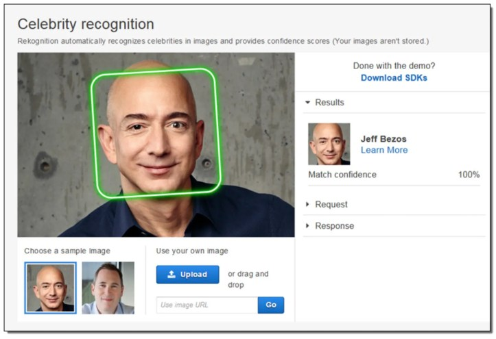 An image on the Amazon website shows how its Rekognition software works with Chief Executive Jeff Bezos. Facial recognition software is coming under increasing scrutiny from civil liberties groups and lawmakers. Now Amazon, one of the most visible purveyors of the technology, is facing pressure from another corner as well: its own shareholders. (Amazon via The New York Times)