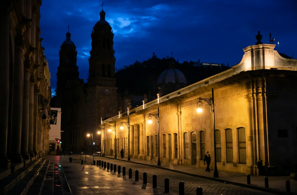 Dawn in Zacatecas. The Catedral Basílica de Zacatecas is in the background. The city, the capital of Zacatecas state, was founded in the 16th century. (Erika Schultz / The Seattle Times)