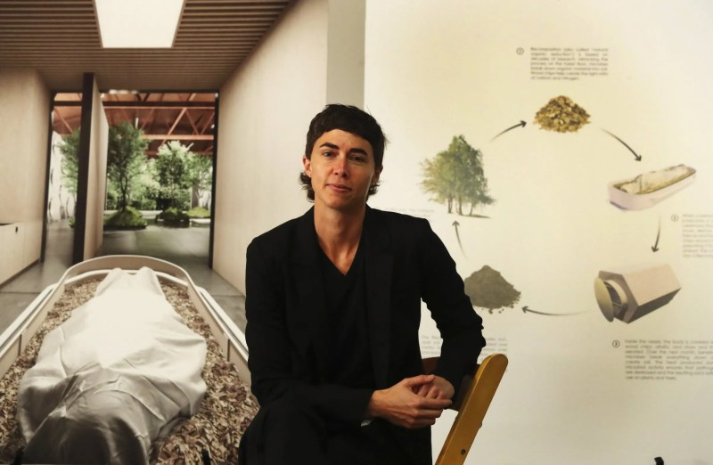 """Katrina Spade, founder and CEO of Recompose, the """"natural organic reduction"""" project, before the official launch event at the company's newly found space for its funeral home, in Seattle's Sodo area. The planned opening is spring 2021. (Ken Lambert / The Seattle Times)"""