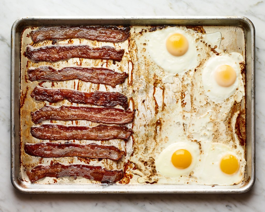 Crispy oven bacon and eggs so easy it practically makes itself