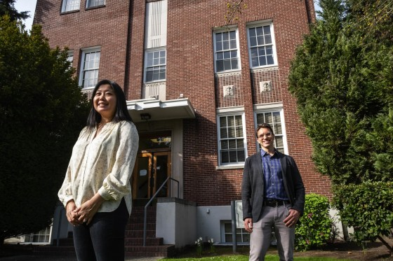 Jill Locke, left, and Aaron Lyon are co-directors of the UW SMART Center.  They are part of a team of researchers innovating to help schools implement evidence-based mental health practices. (Dean Rutz / The Seattle Times)
