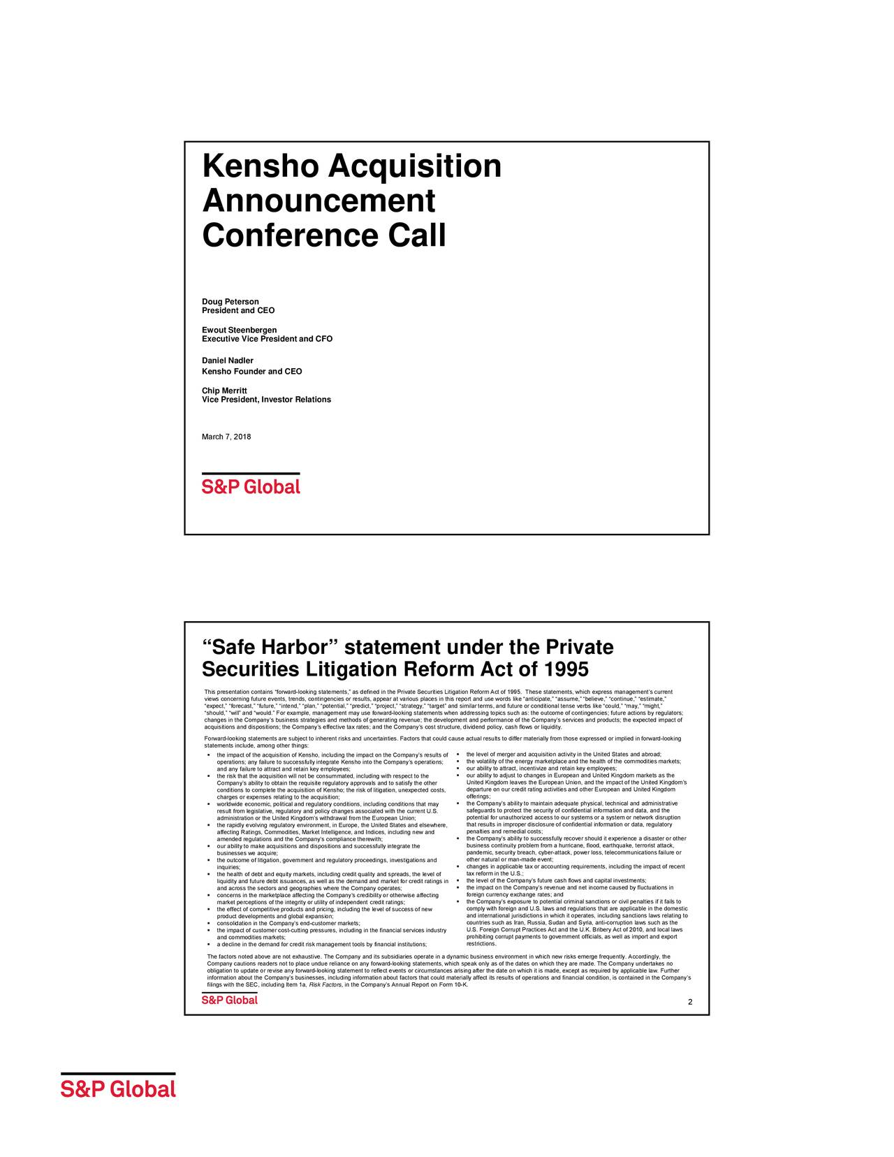 S&P Global (SPGI) To Acquire Kensho - Slideshow - S&P ...
