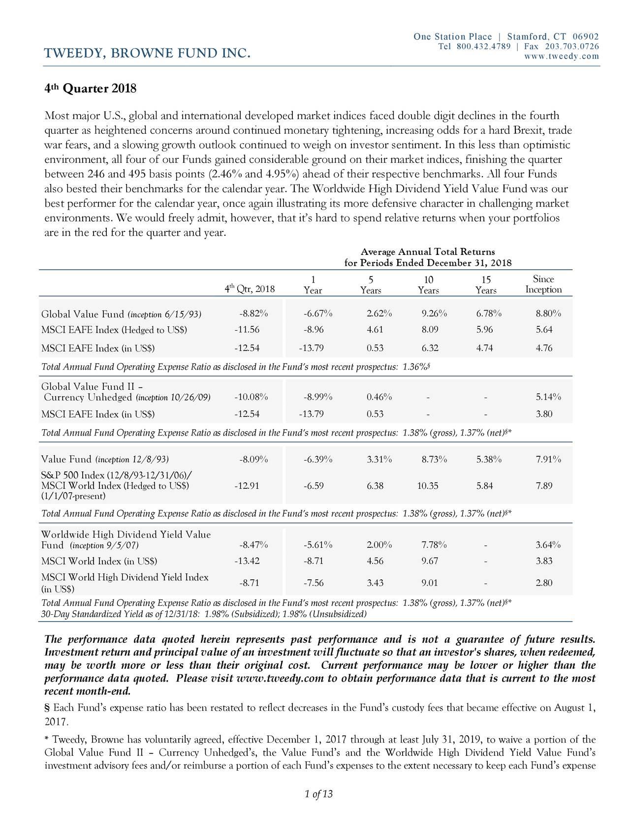 Tweedy, Browne Company LLC 4th Quarter 2018 Letter ...