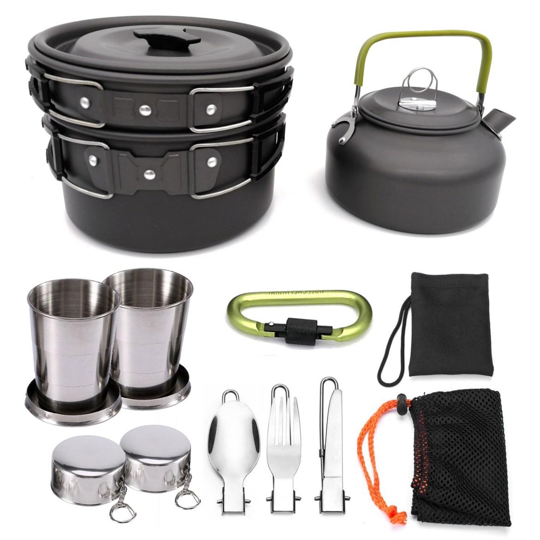 1 Set Outdoor Cooking Pots Pans Camping Cookware P