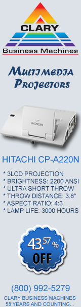 Hitachi CP-A220N Ultra Short Throw Multimedia Projector