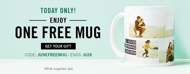 Enjoy one free mug with promo code JUNEFREEMUG, 6/28 only