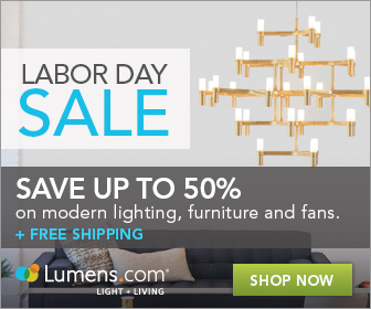 Labor Day Sale: Save up to 50% on modern lighting, furniture, fans and more at Lumens.com. Sale runs 9/4 - 9/8.