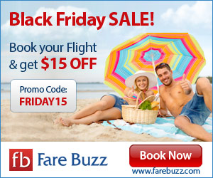 Save on flights for Black Friday with Coupon Code FRIDAY15!