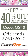 New Arrival Save 40% On All Frames at GlassesShop.com Use Coupon code GS40 - Expires 3/23/2017