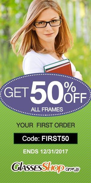 Save 50% off First Order at Glassesshop.com with coupon code: FIRST50