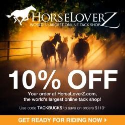 10% Off $110+ at HorseLoverZ.com, code TACKBUCKS