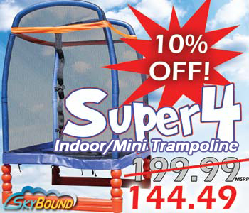 SkyBound Super 4 Indoor Mini Trampoline Fourth of July Independence Day Sale 10% OFF