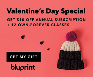 Get 12 Free Own Forever Classes and a year of Bluprint for only $69.99 at myBluprint.com through 2/17/19.