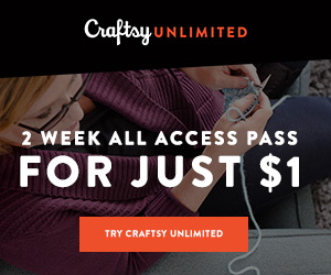 2 Weeks Of Craftsy Unlimited For Just $1 at Craftsy.com 4/18-4/24/18.