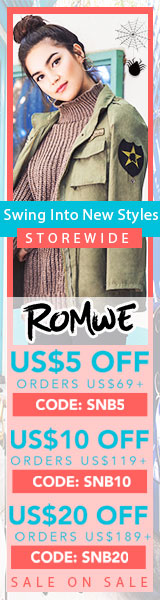 Swing into New Styles and Save! Order $189US+ and Save $20! Use Code SNB20 at Romwe.com  Ends 10/22