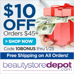 $10 OFF orders $45+ and FREE Shipping at beautystoredepot.com! Use code 10BONUS through 1/25/16 to save!