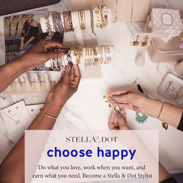 Advertisement photo of the Stella & Dot program featuring images of the products and women using them.
