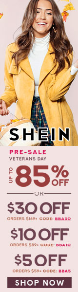 Pre-sale Veterans Day! Shop and Save $30 off your order of $169 or more with Code BBA30. Offer Ends 11/12 at us.SheIn.com