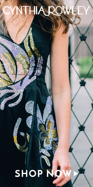 Cynthia Rowley Sequin Flower Deep V-Neck Dress