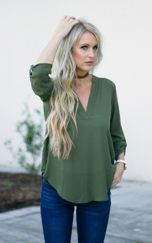 Green V Neck Top
