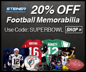 20% Off Football Memorabilia at SteinerSports.com with code SUPERBOWL