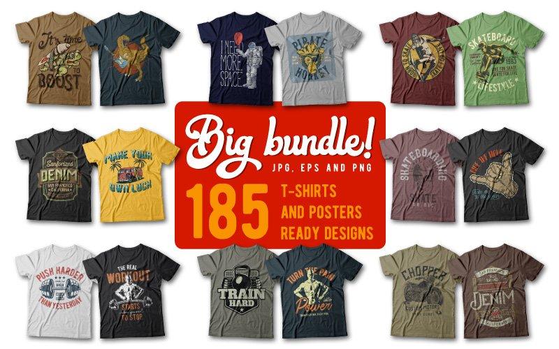 185 Unique T-Shirt Designs Bundle