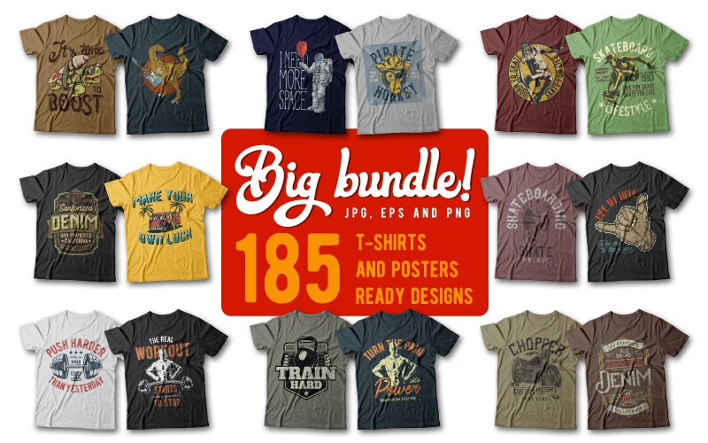 185 Unique T-Shirt Designs Bundle
