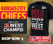 Get your Chiefs 2016 AFC West Champs Gear at NFLShop.com