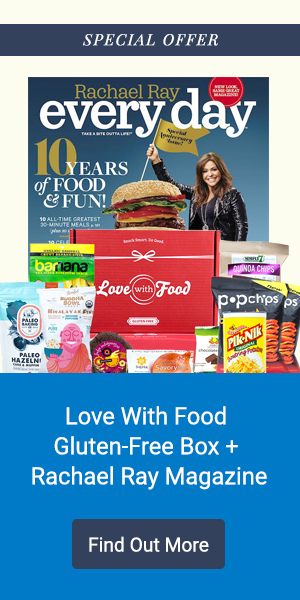 Get 50% off your first Gluten-Free Love With Food box with a subscription to Rachael Ray Magazine included!