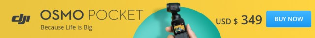 DJI Osmo Pocket, 3-axis stabilized handheld camera, USD $349, buy now!